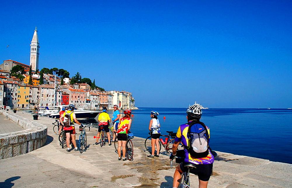 Bicycle tourists at Rovinj, Istria, Croatia, Adriatic Sea, Mediterranean Sea.