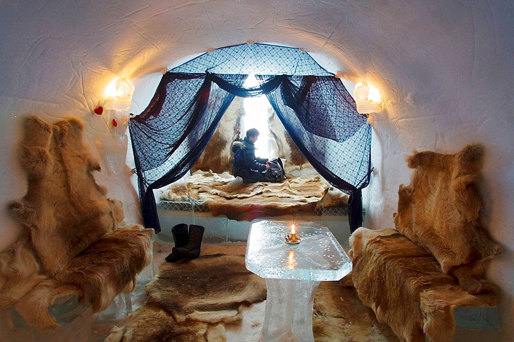 Ice hotel, Alta Igloo Hotel in Alta Friluftspark, Finnmark, Lapland, Norway. - 817-16431