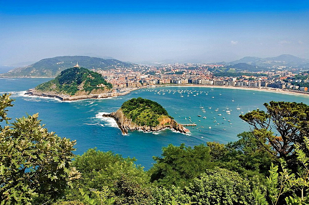 View of San Sebastian from Monte Igeldo, Donostia (San Sebastian), Euskadi, Spain.