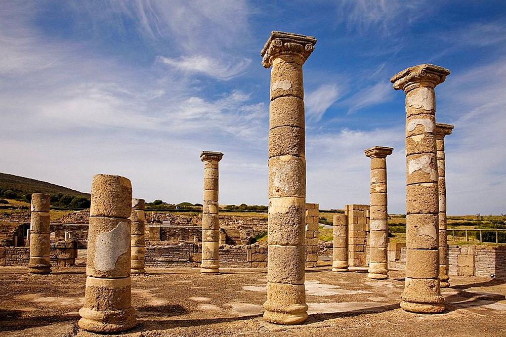 Ruins of basilica, archaeological site of old roman city of Baelo Claudia, Bolonia, Tarifa, Costa de la Luz, Cadiz province, Andalusia, Spain