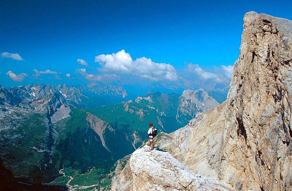 Via Ferrata to La Marmolada, Dolomites, Italy.