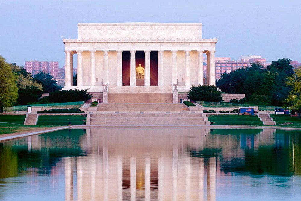 The Lincoln Memorial reflecting into the Reflecting Pool, Washington, District of Columbia, USA