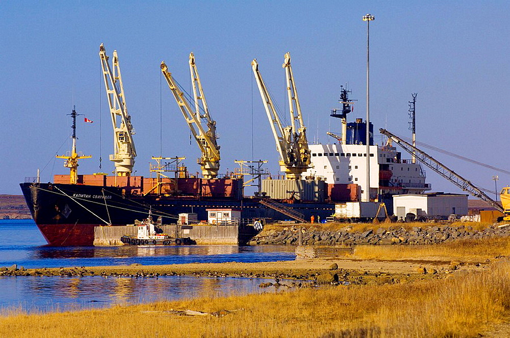 A Russian ship (Kapitan Sviridov) docked in the Port of Churchill, Churchill, Manitoba, Canada, It had carried fertilizer from Estonia and then loaded Canadian wheat to transport to Italy.