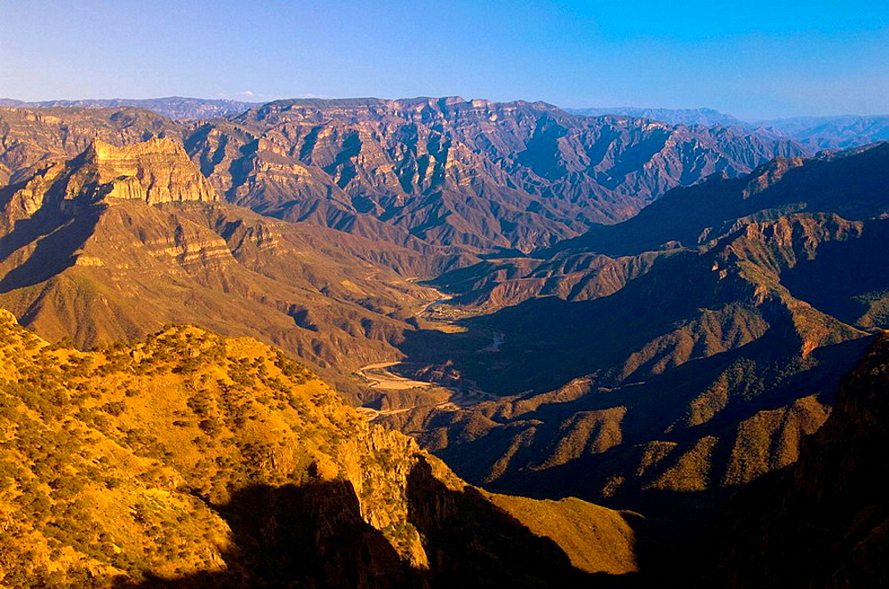 Urique Canyon, the deepest canyon in the Sierra Tarahumara at 6,200 feet, is one of six distinct canyons that make up the Copper Canyon Barranca del Cobre, Chihuahua, Mexico