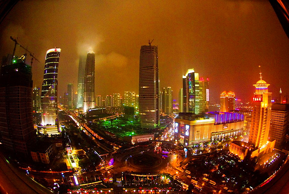 Overview of the Lujiazui Financial District, Pudong section of Shanghai, China - 817-171057