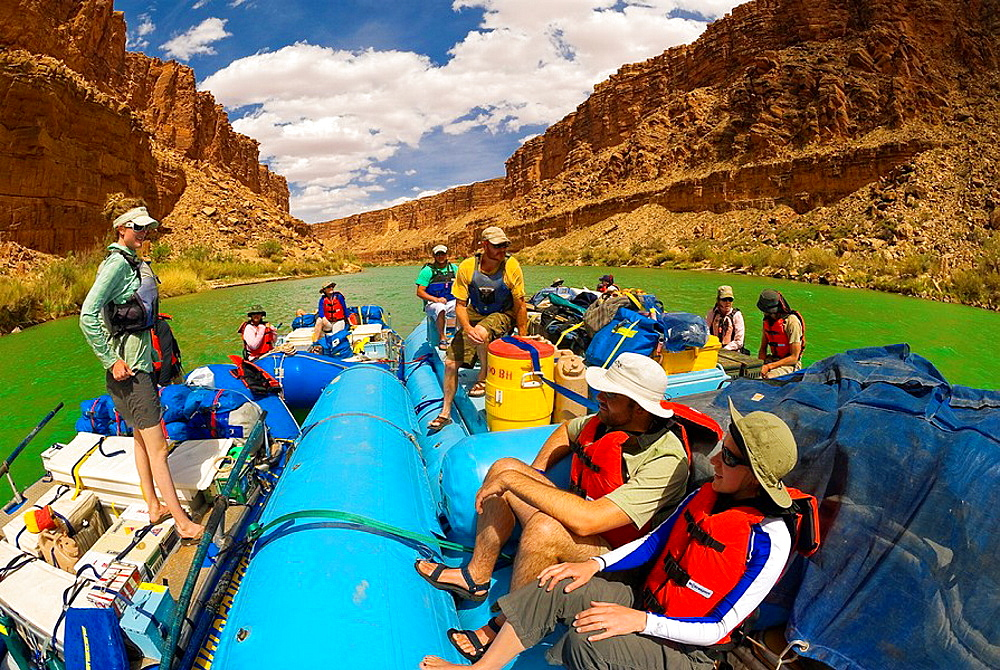 Whitewater rafting trip oar trip on the Colorado River in Marble Canyon, Grand Canyon National Park, Arizona USA