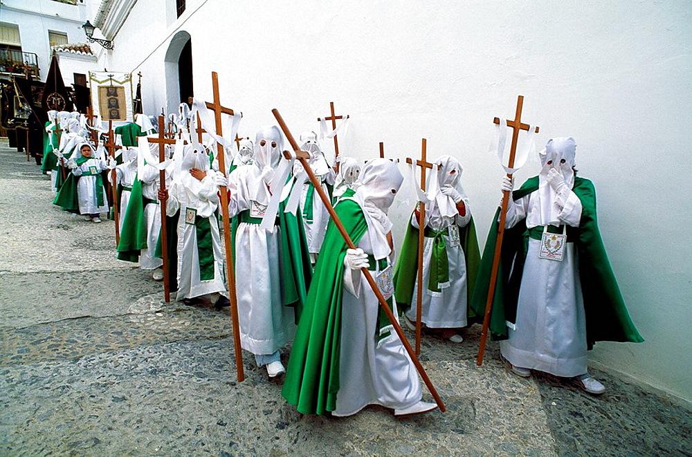 Holy Week, Frigiliana, Malaga, Andalusie, Spain