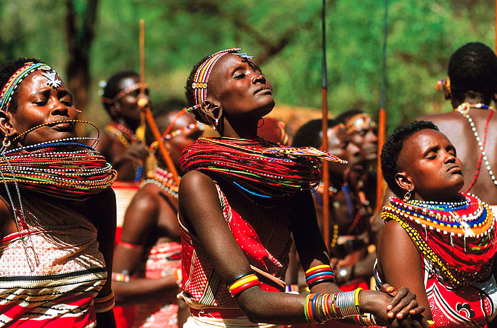 Masai people, shepherds and warriors in Kenya, Women with necklaces, Masai, Kenya.