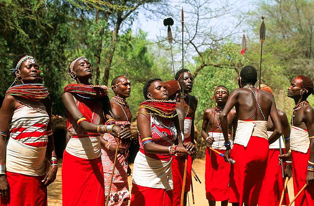 Masai people, shepherds and warriors in Kenya, Women with necklaces, Masai, Kenya. - 817-172083