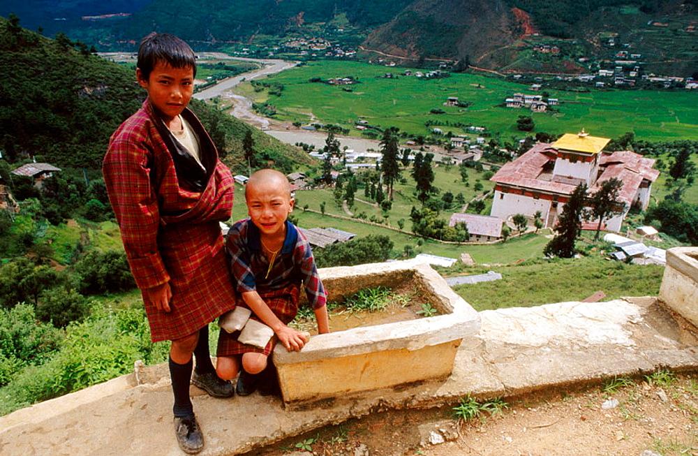 Children, Rinpung Dzong, Paro valley, Bhutan.