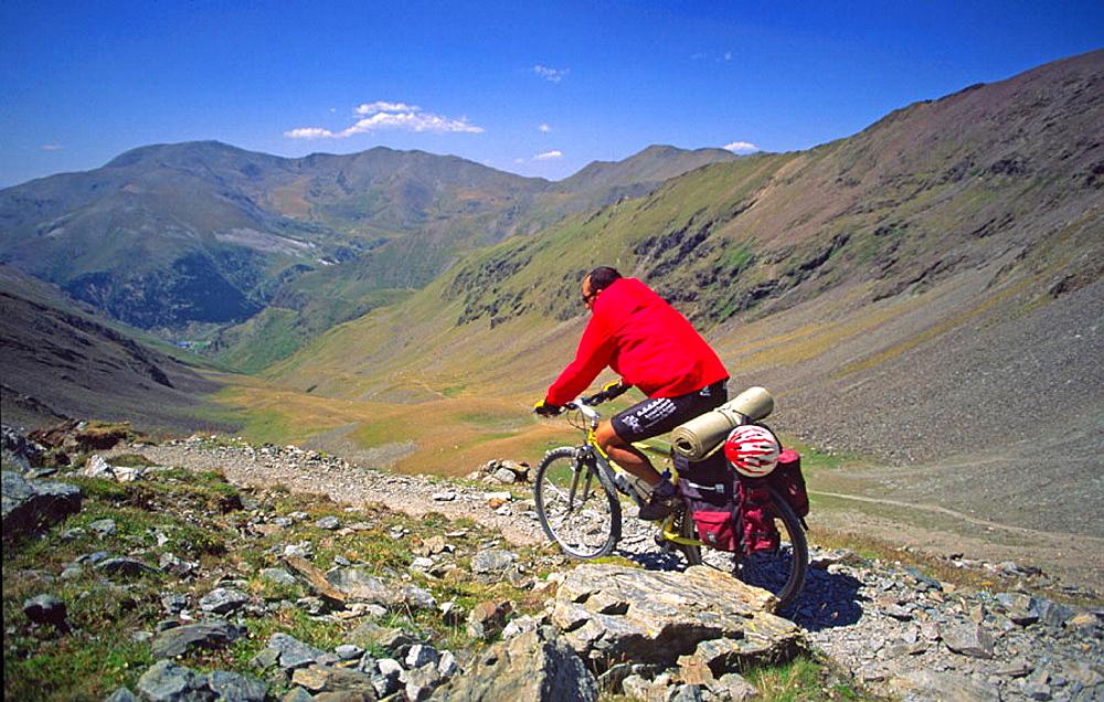 Mountain biking in Vall de Nuria, Girona province, Catalunya, Spain.