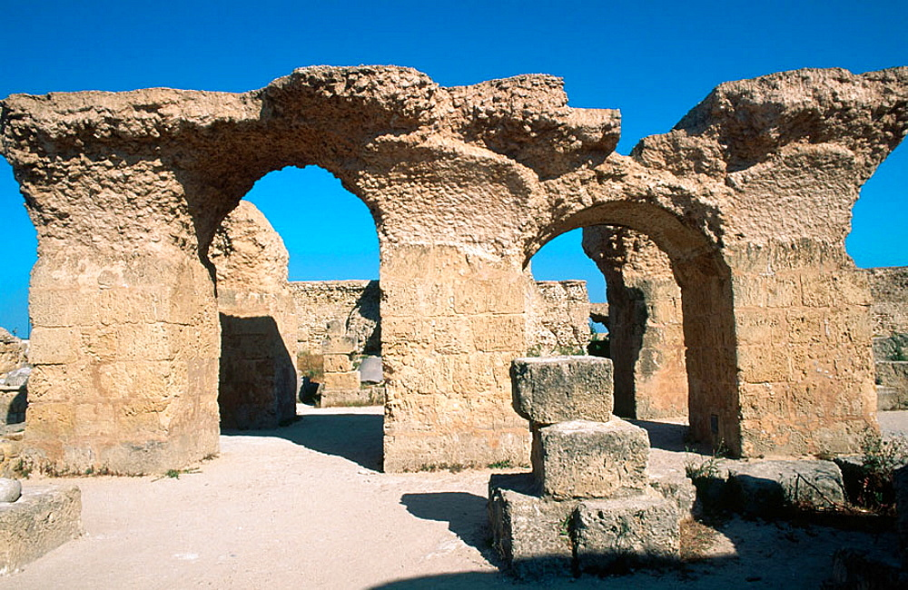 The Roman thermae, Archaeological location of the ancient city, Carthage, Tunisia