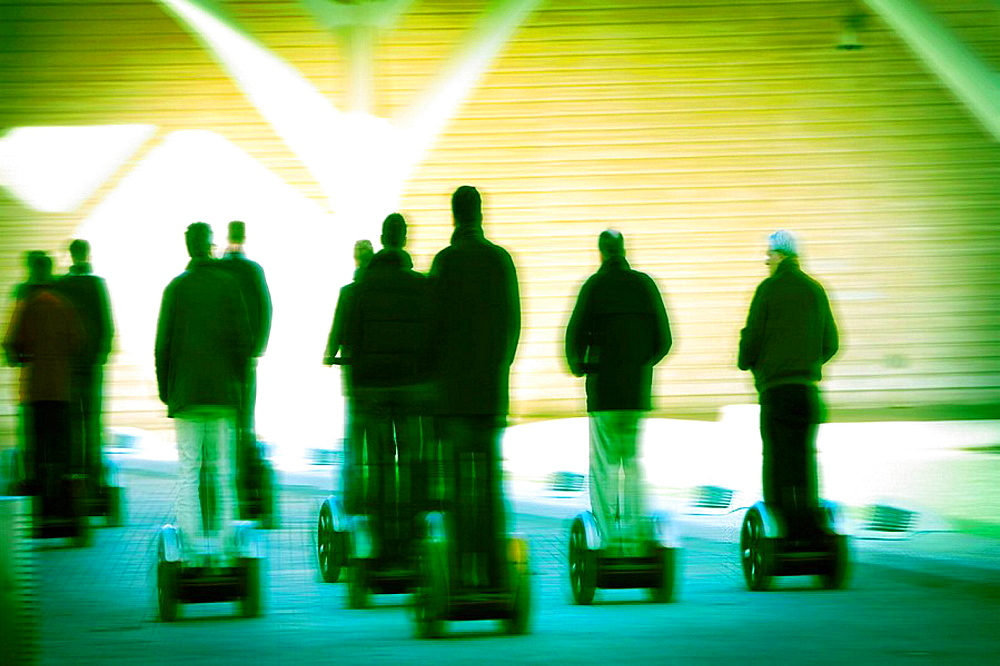 Paseo de segway group executive, by the City of Arts and Sciences in Valencia, Valencia, Spain, Europe.
