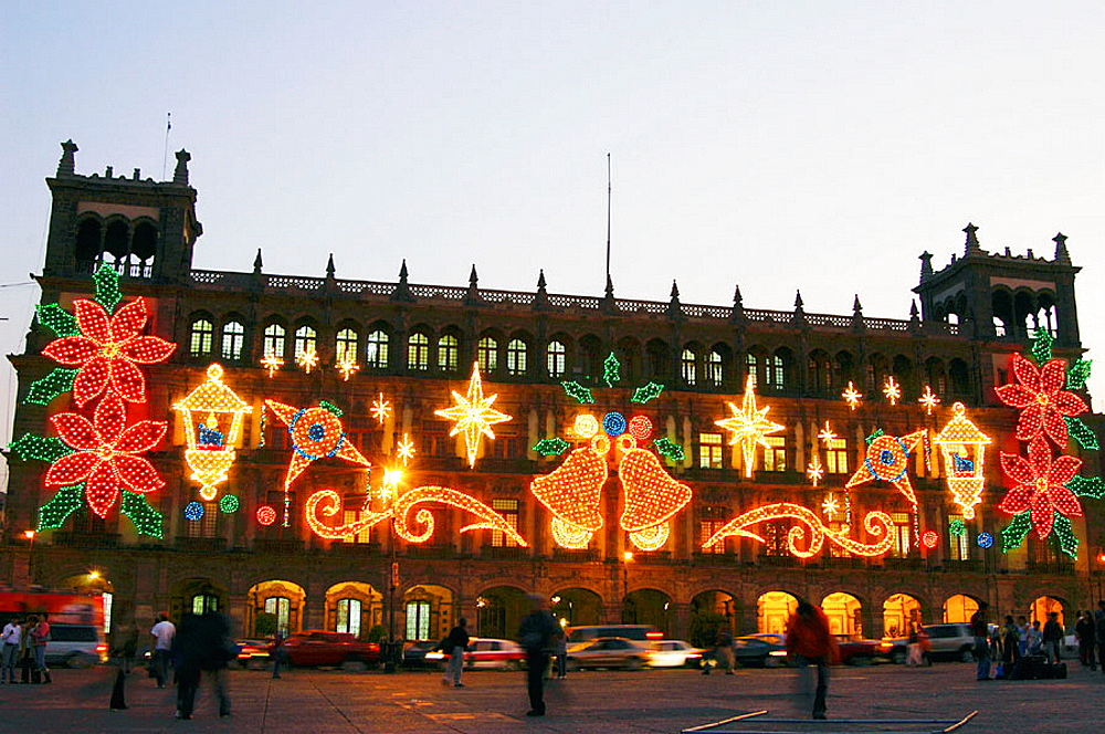 Christmas light at Plaza de la Constitucion (the Zocalo), Mexico City, Mexico
