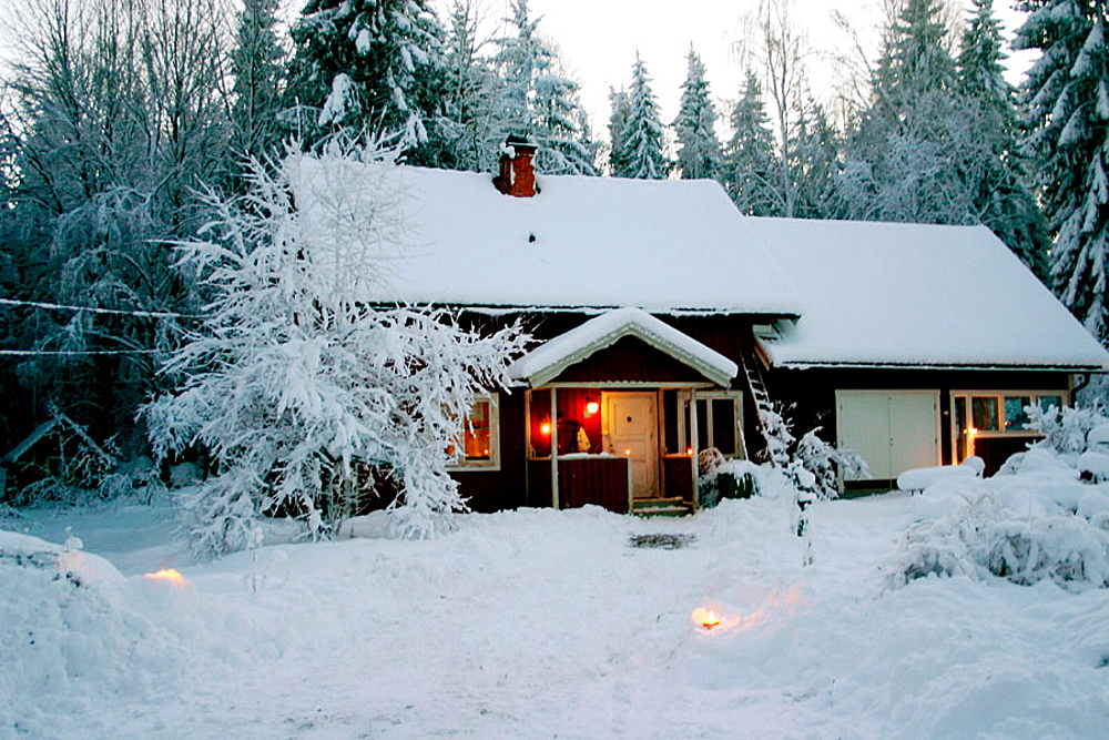 The cottage in winter province, Winter, snow, christmas, mood, Uppsala, Sweden