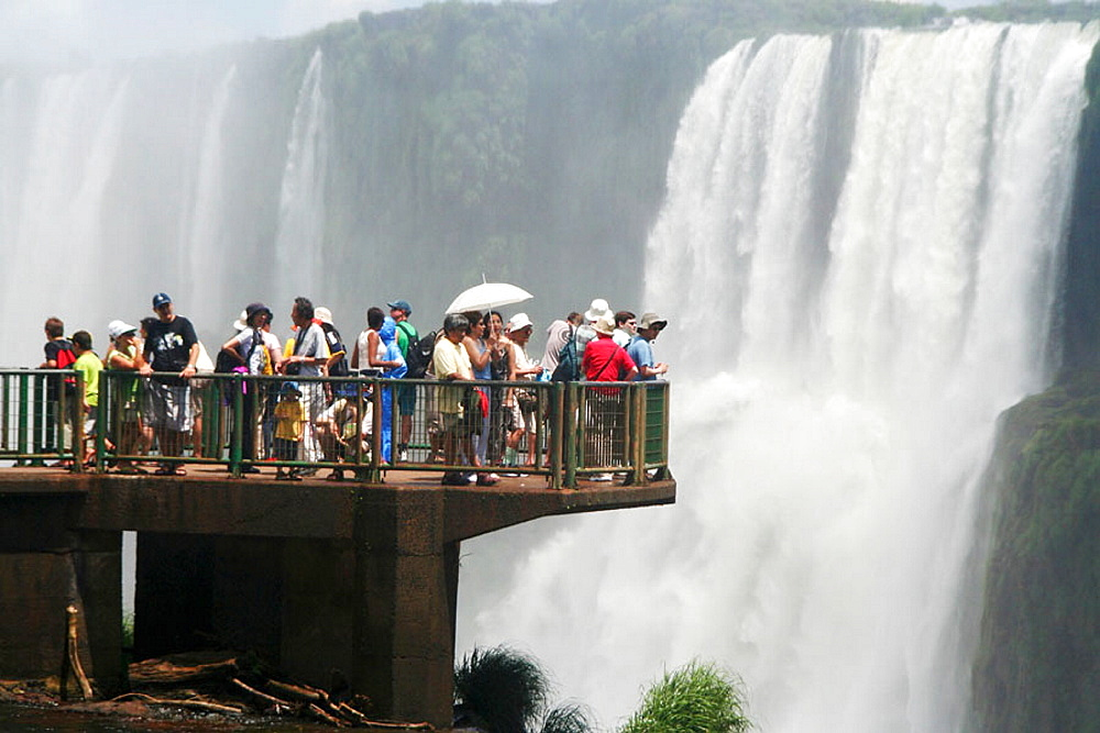 Tourists at Iguazu Falls, Brazil - 817-177195