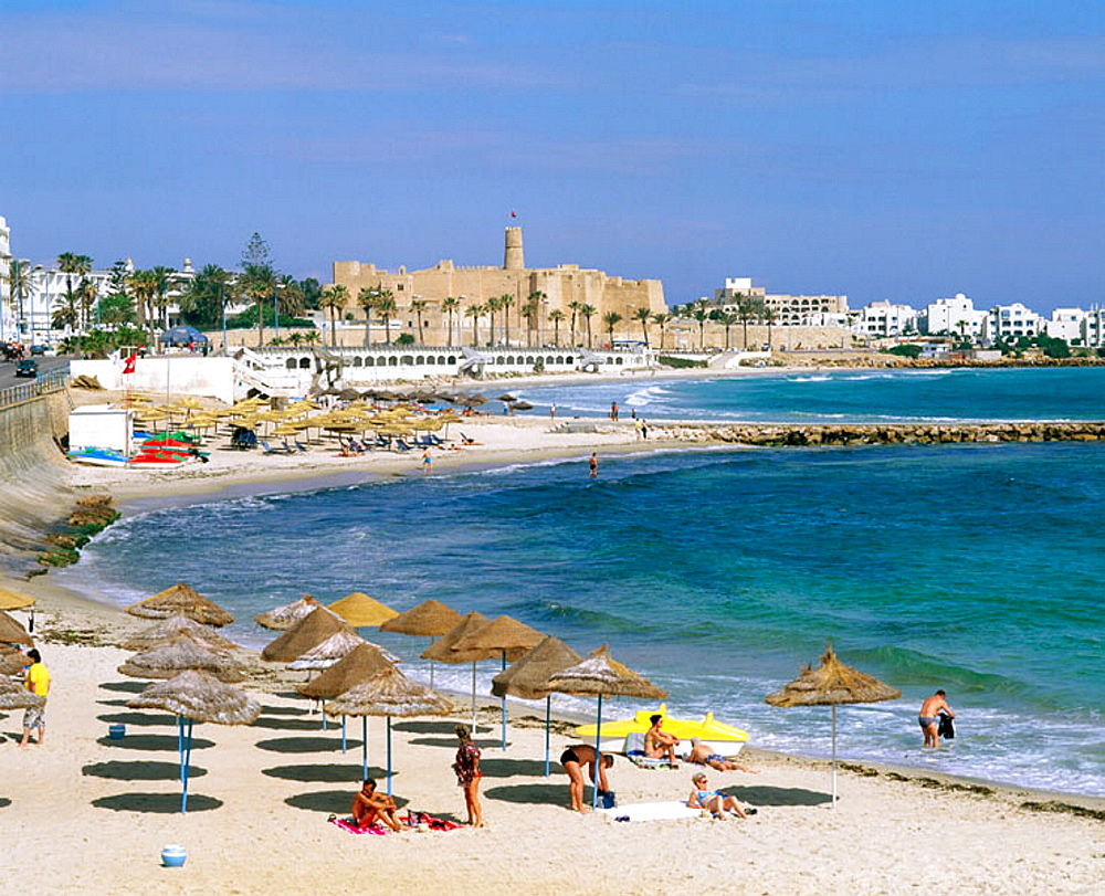 Beach with the Ribat (monastery-fortress) in background, Monastir, Tunisia