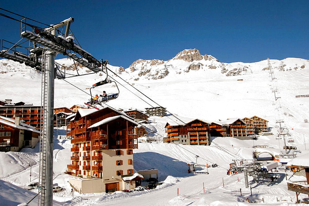 Ski resort town of Tignes, Rhone-Alpe, France