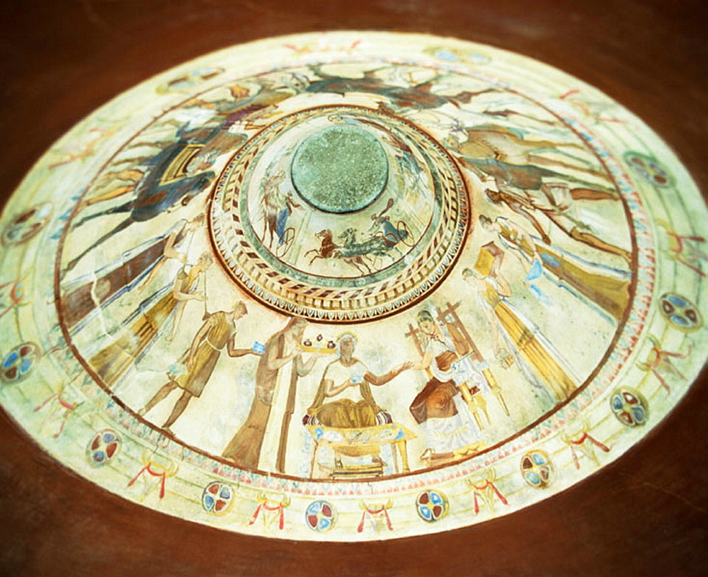 Ceiling painting at interior of Thracian burial tomb of an unknown ruler from the 4th or 3rd century BC, Kazanluk, Bulgaria