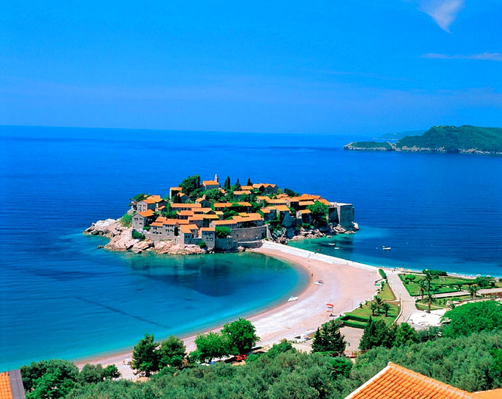 Sveti Stafan City in the Adriatic coast, Montenegro, Yugoslavia