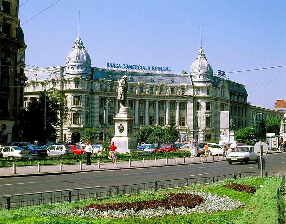 Boulevard Regina Elisabeta and Banca Comerciala Romana building, Bucharest, Romania