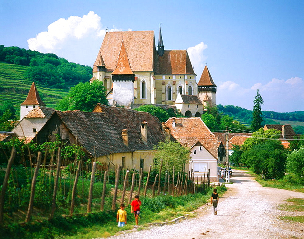 Saxon fortified church of Biertan and village, near Sighisoara, Transylvania, Romania - 817-18091
