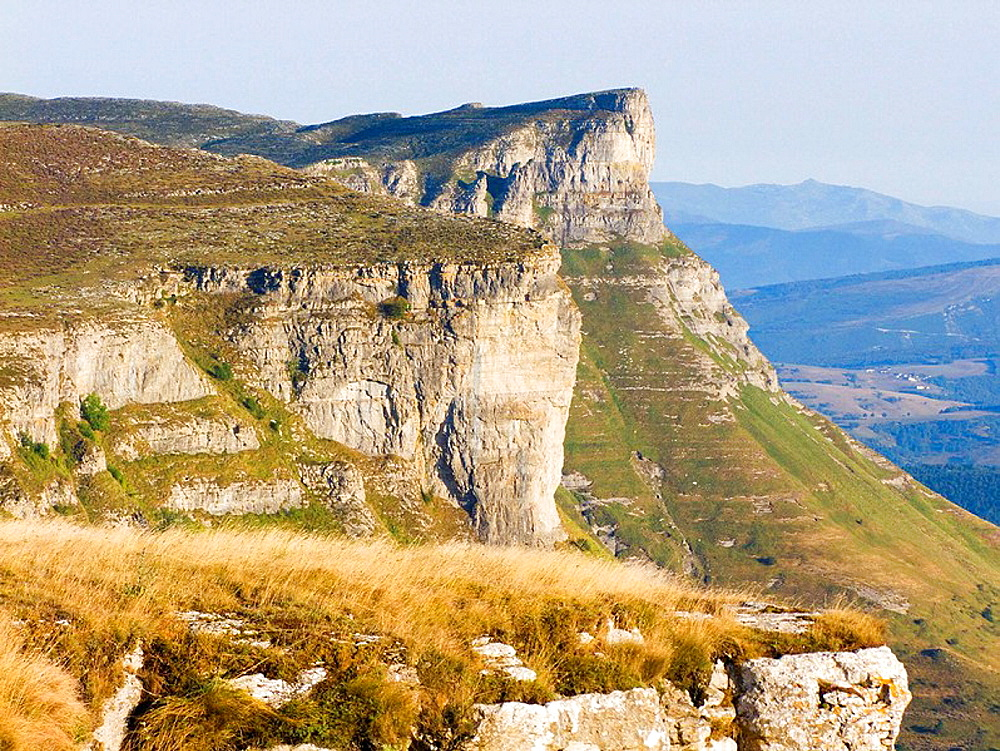 Views from the mountain of the Sierra Txolope Salvado, bottom mount Bedarbide andalusia, Vizcaya, Basque Country, Spain