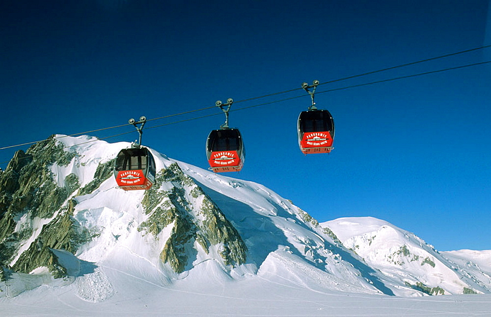 Cable cars at the Aiguille du Midi, French Alps, France