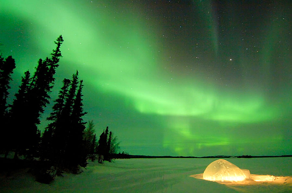 Northern lights (Aurora borealis) in winter, Nord West territories, Canada