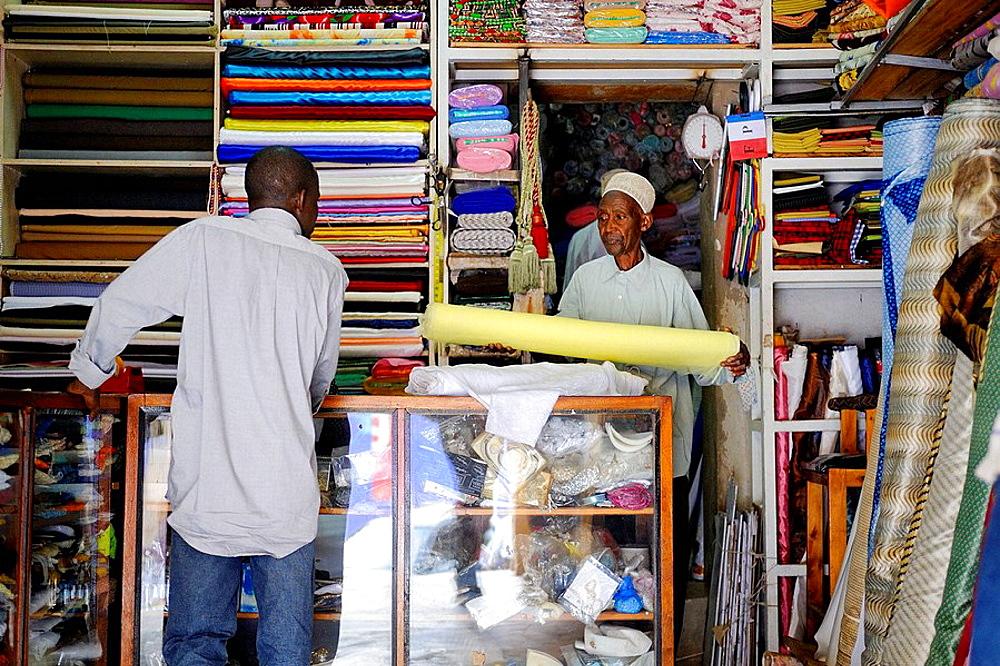 Tissu shop in market in Kigali, Rwanda, Africa