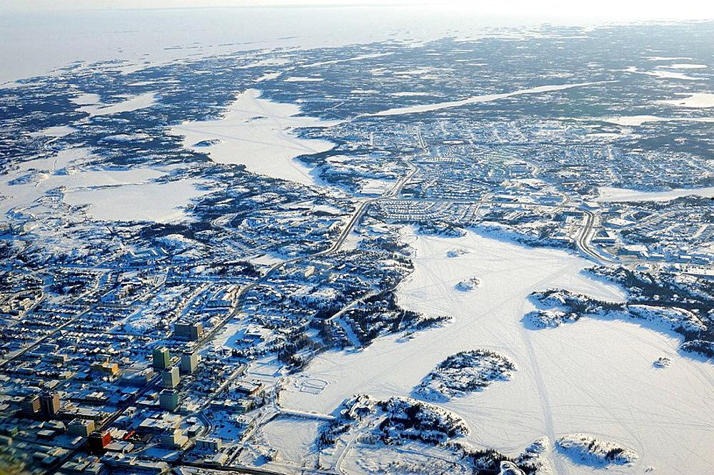 Aerial view of Yellowknife, Northwest Territories, Canada