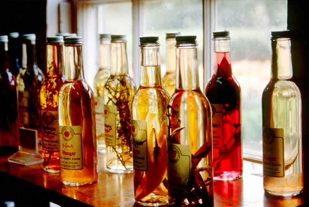 Bottles of flavored vinegar at Russell Orchards in Ipswich, Massachusetts, USA
