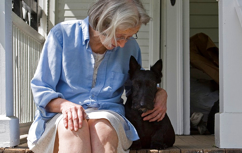 Woman and Scottish Terrier enjoying a sunny summer morning on the porch  MR & PR