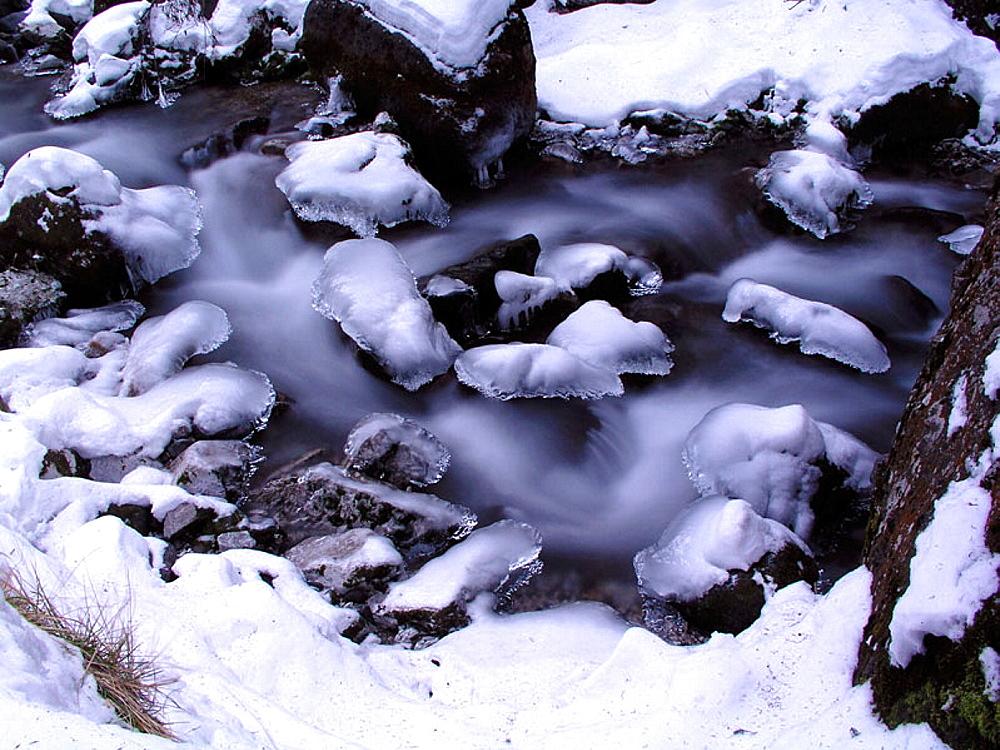 winter torrent in Italy, Trentino Alto Adige, Serrai di Sottoguda