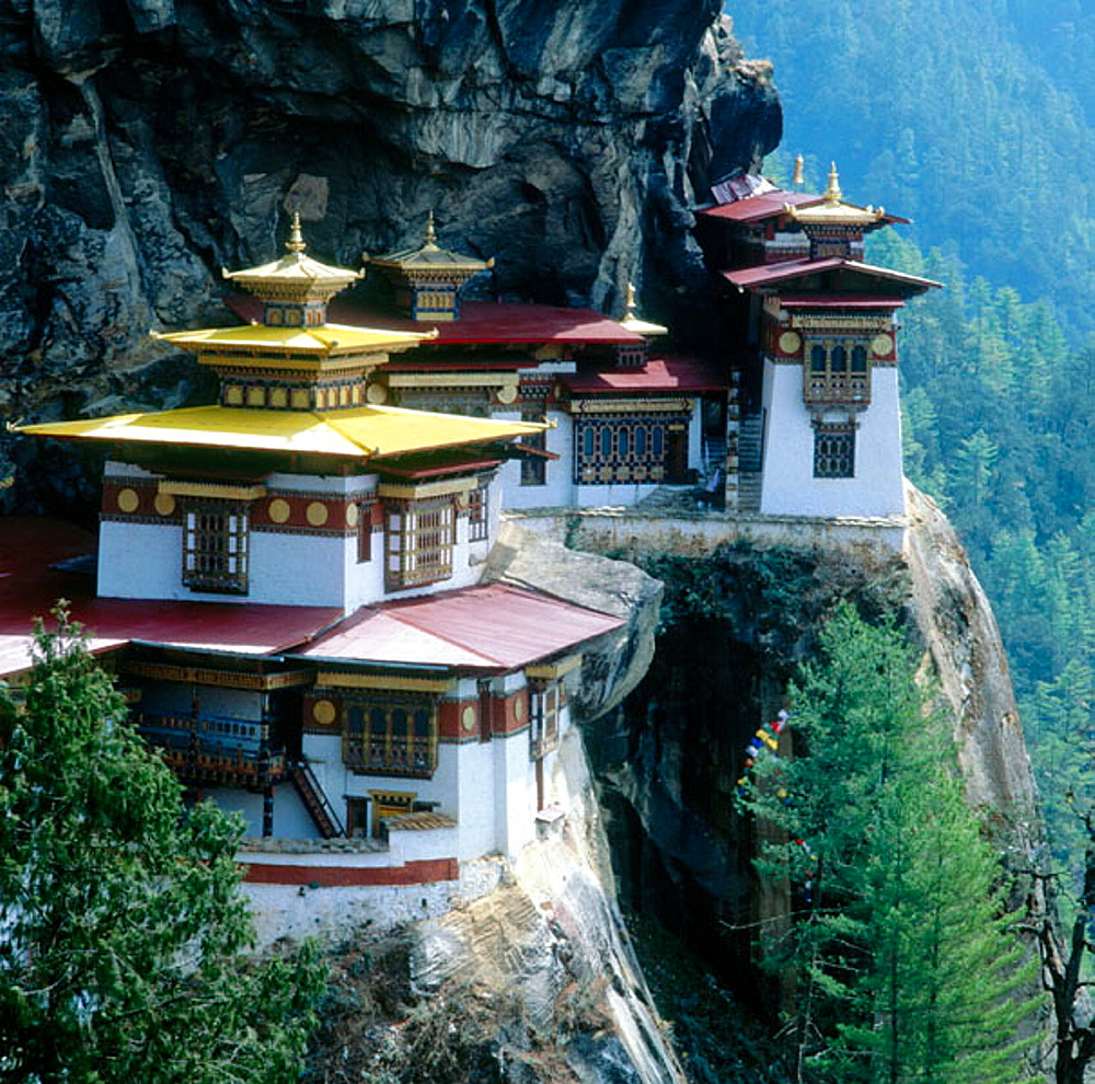 Tigers nest Taktshang a monastery perched high on a cliff in the Paro Valley, Bhutan.