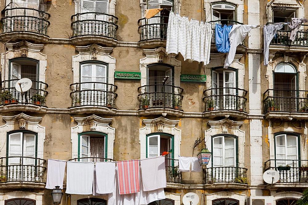 Facade beside Casa dos Bicos in Alfama quarter, Lisbon, Portugal