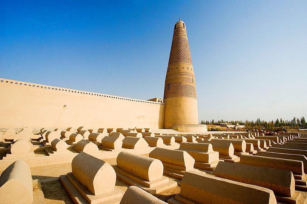 The Silk Road, Emin Ta Minaret and Sugong Mosque, Turpan City, Xinjiang Province, China, Nov, 2006