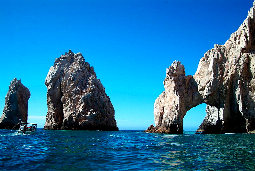 Rock arch at Land's End, in the Southern Tip of Baja California, were the Sea of Cortez meets the Pacific Ocean, Cabo San Lucas, Baja California, Mexico