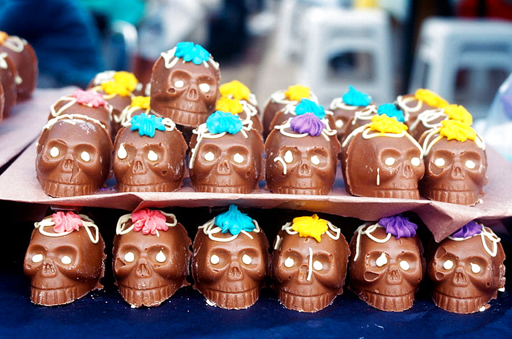 Chocolate skulls, Mexican tradition in All Saint's Day, devoted to remembering the dead, is to offer sweet skulls with their names on, Mexico