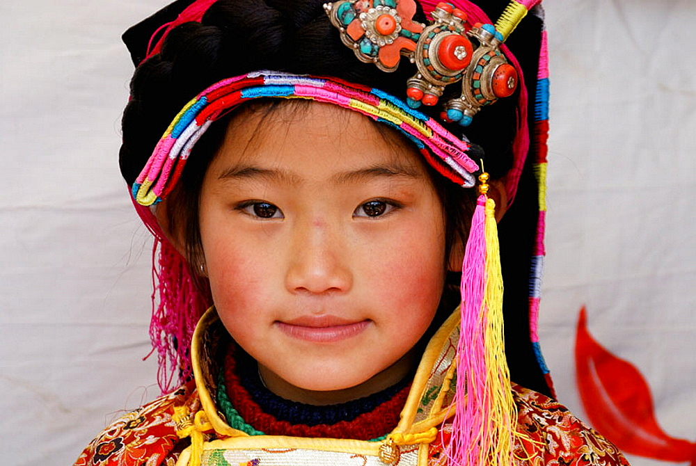 Tibetan girl in festival,Danba, Sichuan, China