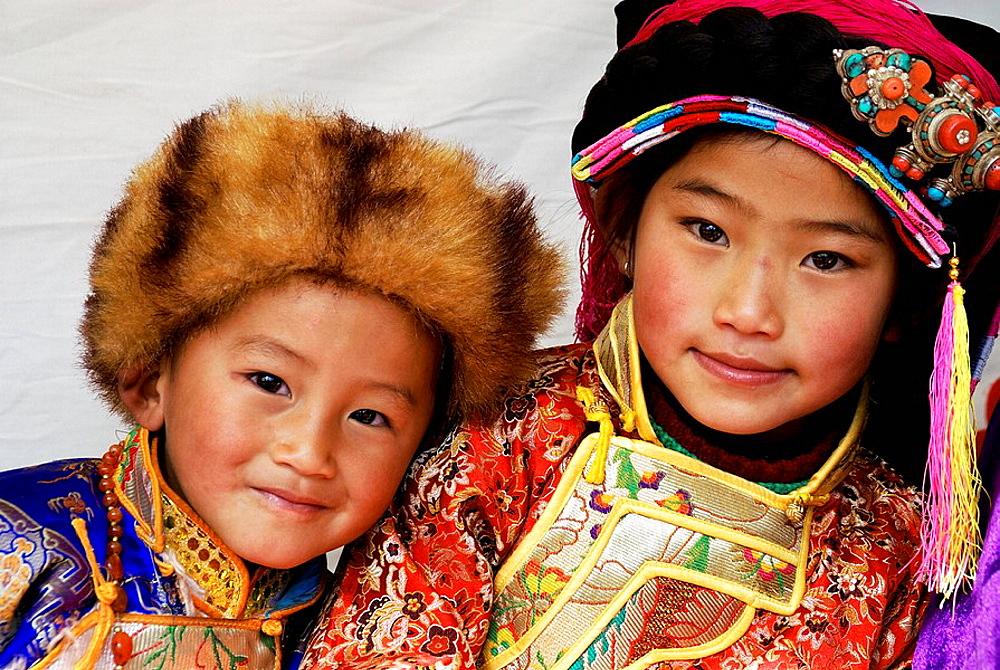 Tibetan children, Festival, Danba, Sichuan
