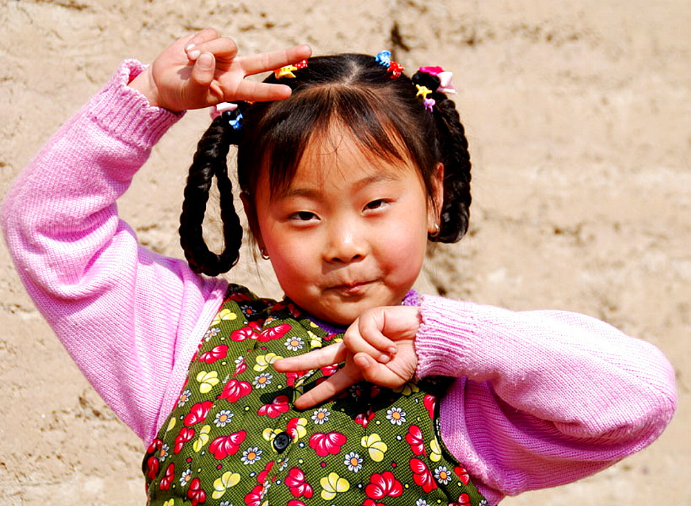 Chinese girl, Qinghai, Huzhu, China