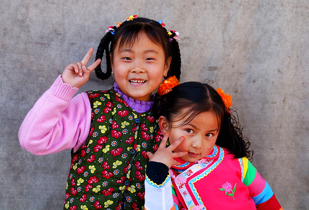 Chinese girls, Qinghai, Huzhu, China