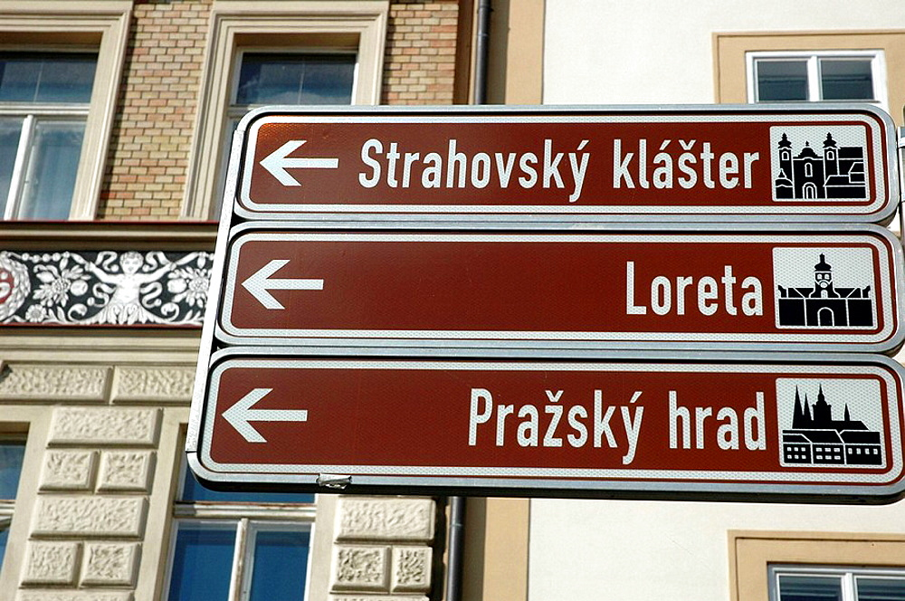 Prague Czech Republic, tourist indications in Malostranske namesti, Mala Strana