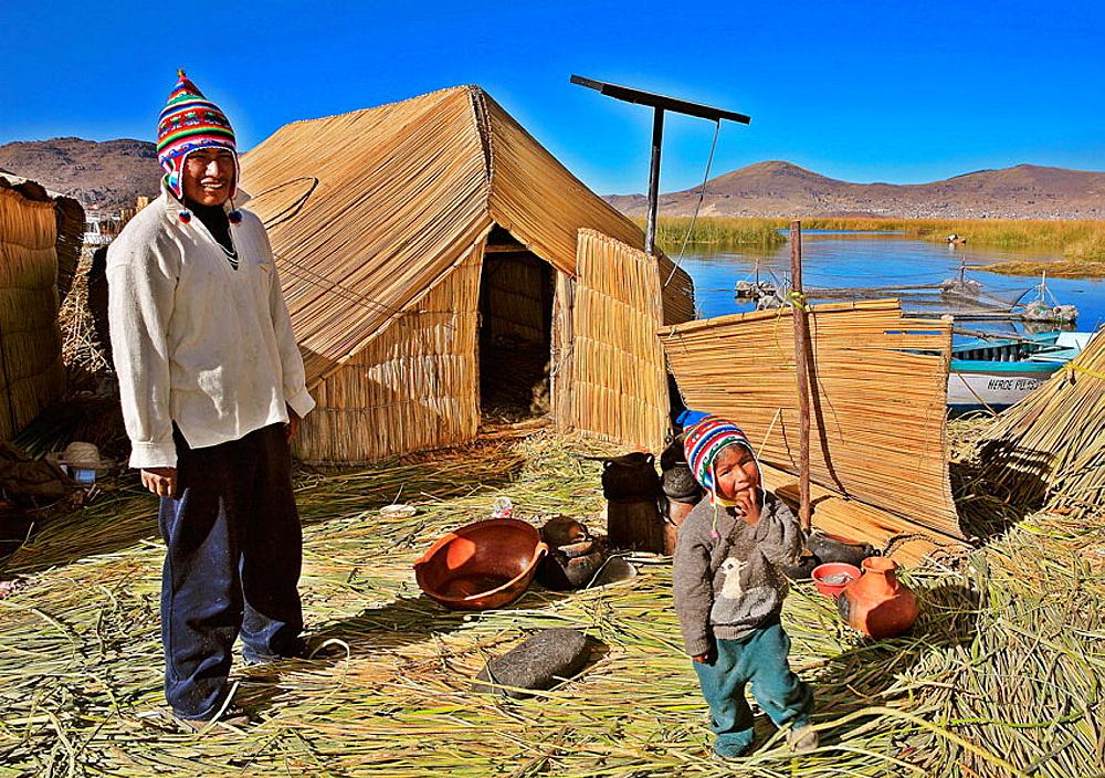 Uros Floating Islands, Titicaca Lake, Puno, Peru