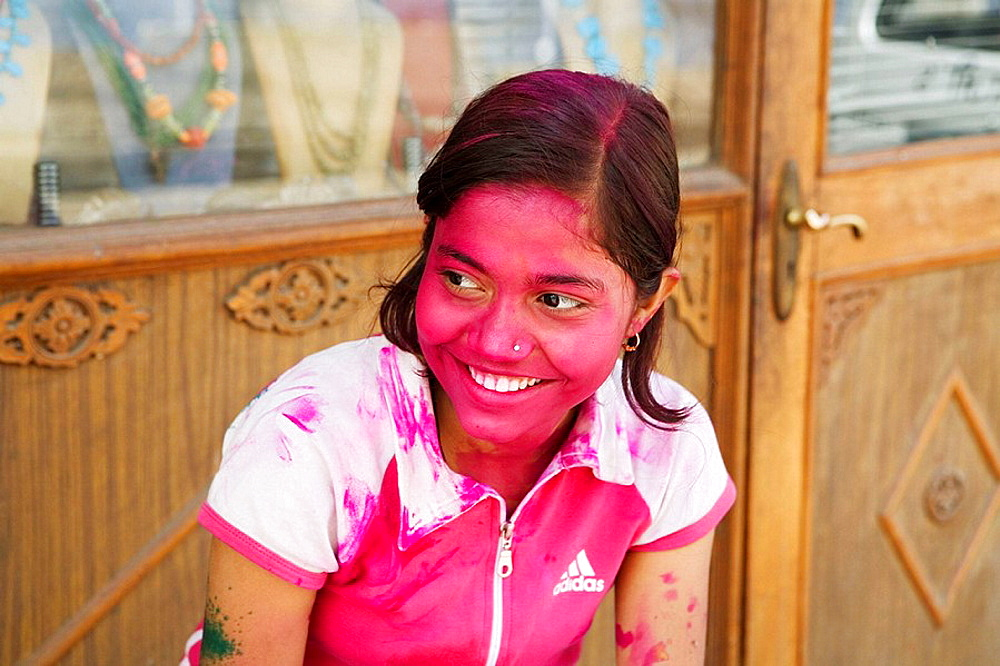 Girl at Holi Festival, Jaipur, Rajasthan, India