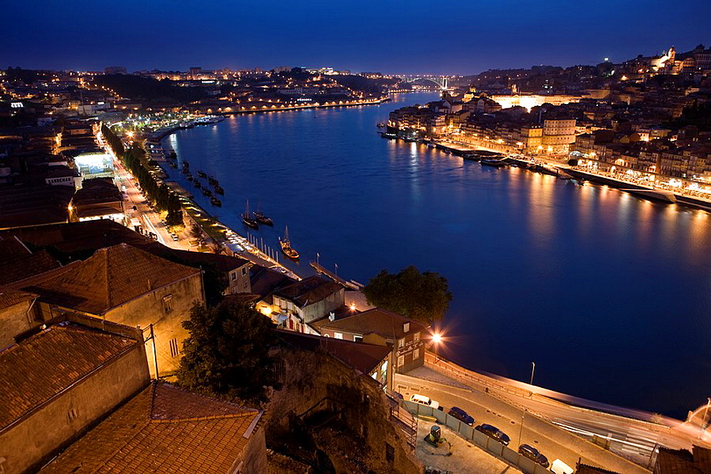 Night view of Oporto city and the Douro river, from Vila Nova de Gaia  World Heritage  Porto, Portugal