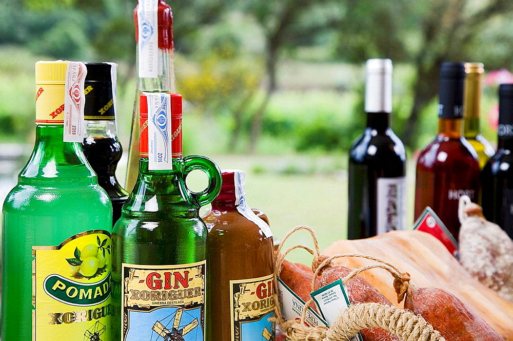 Liquors, wines and sausages from Minorca, Balearic Islands, Spain