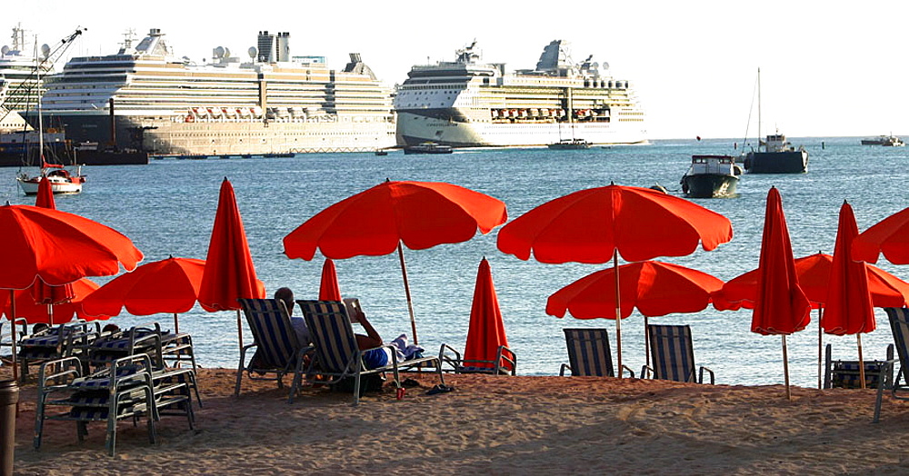 Taken on the Dutch side of Saint Martin in the winter of 2006, This was one of the busiest days for Cruise liners to dock