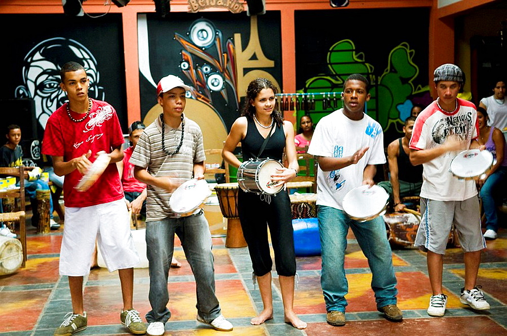 local youth play music and dance in the Humming bird center in one of Sao Paulos poor neighbourhoods